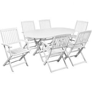 Salon jardin bois table ovale - Achat / Vente pas cher