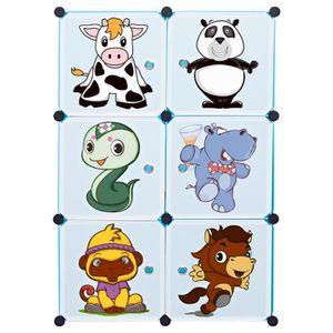 ARMOIRE DE CHAMBRE Armoire de rangement enfant - 6 cubes - Plastique