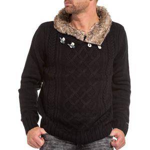 c7c1f59e1c491 PULL Pullover tricot homme noir col châle fourré ...