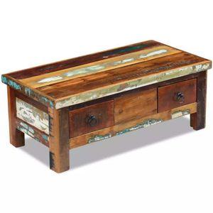 TABLE BASSE Table basse à tiroirs 90 x 45 x 35 cm Bois de récu 148b7b6fc432