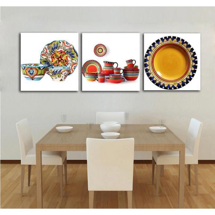 Sans Cadre 3 Panneaux Moderne En Céramique Fleur Art Vase