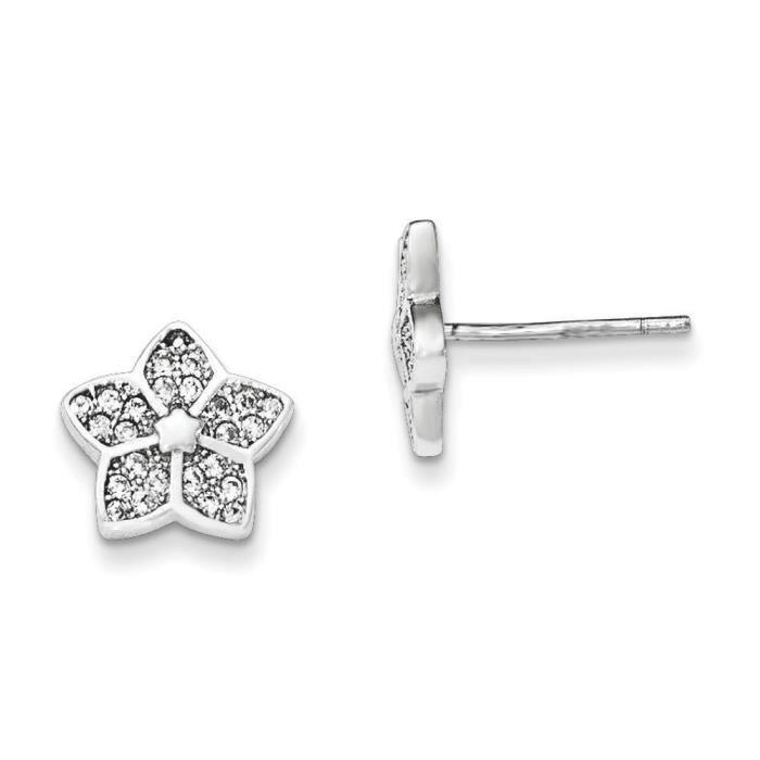 Argent Sterling poli Diamants CZ Fleur Post-Boucles doreilles