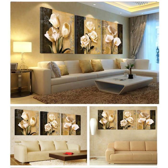 trois mile beige fond noir et sans cadre avec peinture d coration stickers muraux en toile. Black Bedroom Furniture Sets. Home Design Ideas