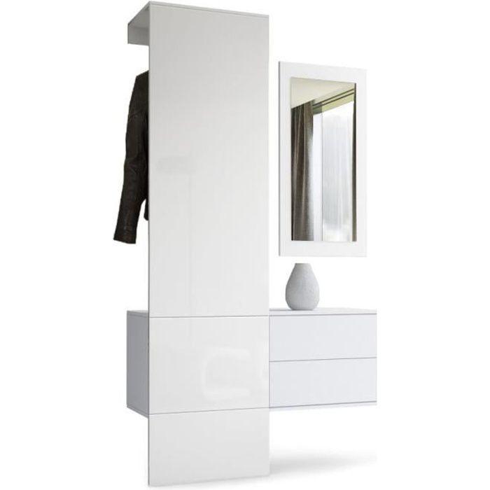 Vestiaire garderobe carlton set 2 corps en blanc mat for Vestiaire pour entree maison