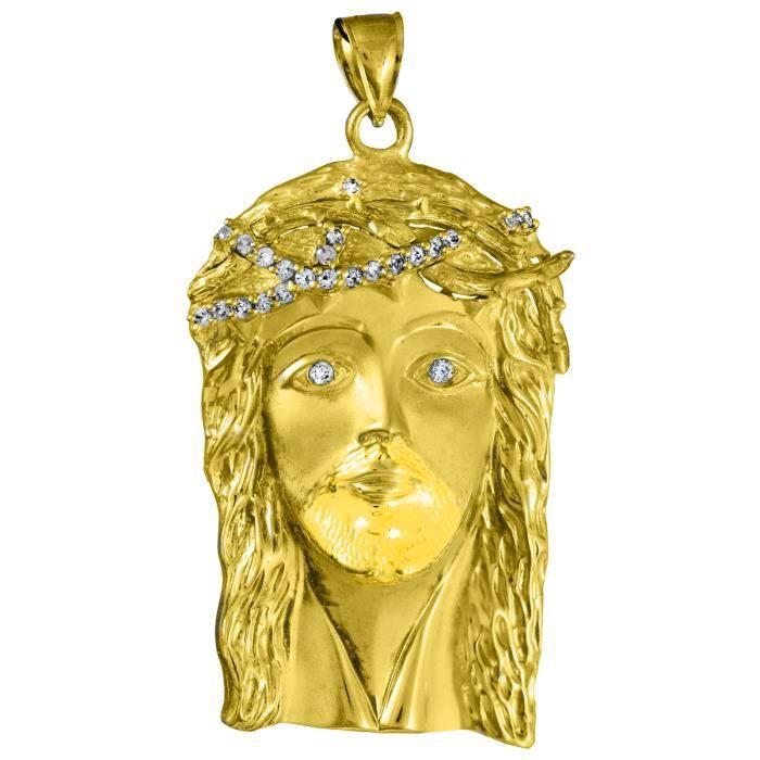 Collier Pendentif10 ct Or Jaune 471/1000 Jésus visage départ privé Oxyde de Zirconium Collier Pendentif(XL) Collier Pendentif...