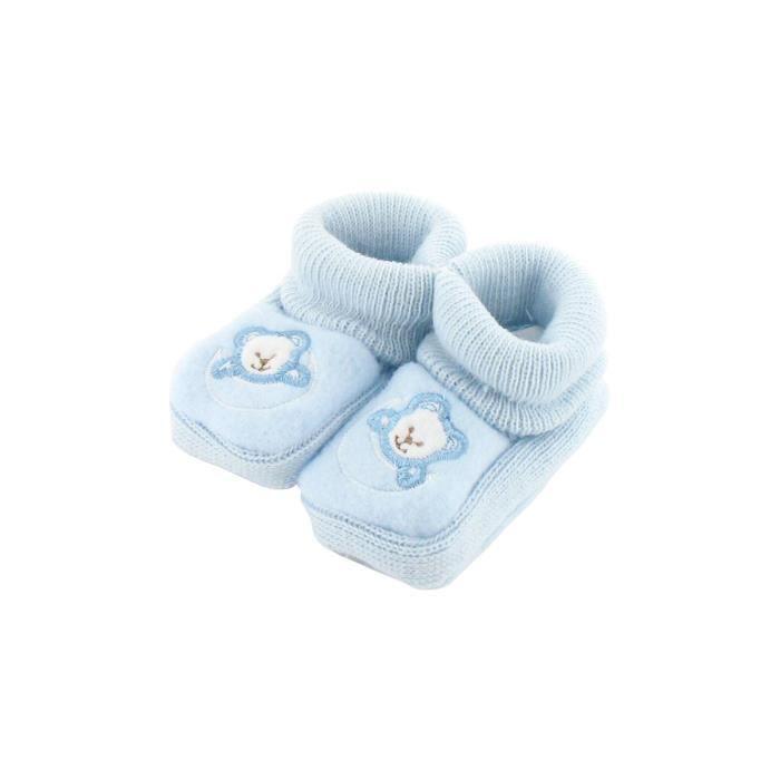 CHAUSSON - PANTOUFLE Chaussons pour bébé 0 à 3 Mois bleu - Motif Ourson