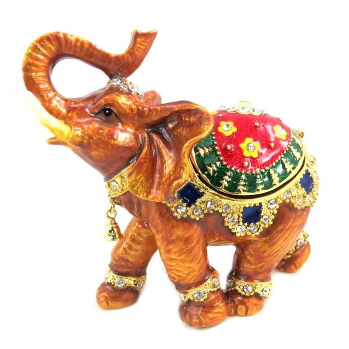 Coffret à Bijoux Elephant Indien orange multicolore - 11.5x8.5x4 cm [P6231]