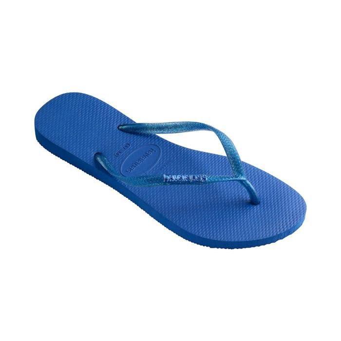 Tongs bleues Slim Logo Metallic