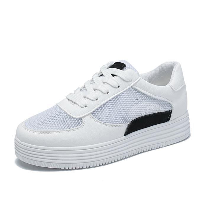 5182e93238b6b7 Chaussures Blanches Pour Femmes Noir Noir - Achat / Vente basket ...