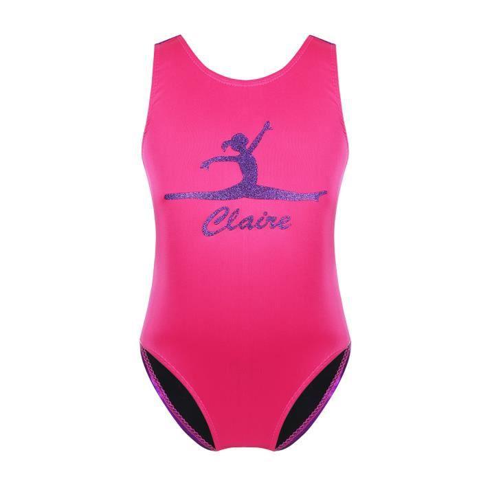 Justaucorps Gymnastique Fille Gymnast Imprimé Brillant Jumpsuit Enfant 5-14  Ans Rose 7225907d418