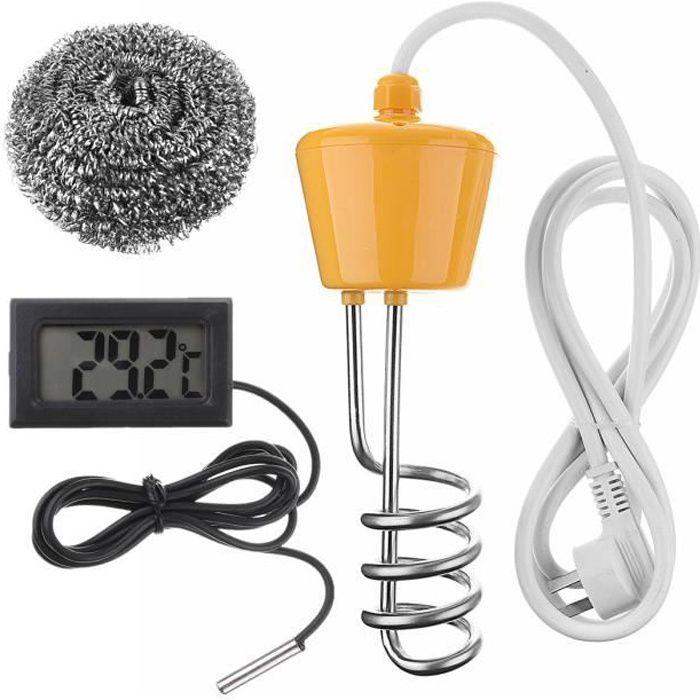 Thermoplongeur Tige Chauffe Eau 2500w Thermomètre à Sonde Chauffage