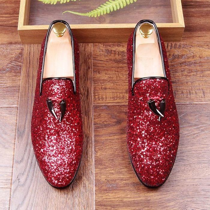Shark Tooth Tassel Mocassins Flats Paillettes Chaussons Chaussures de soirée mariage Hommes rouge Glitter hommes