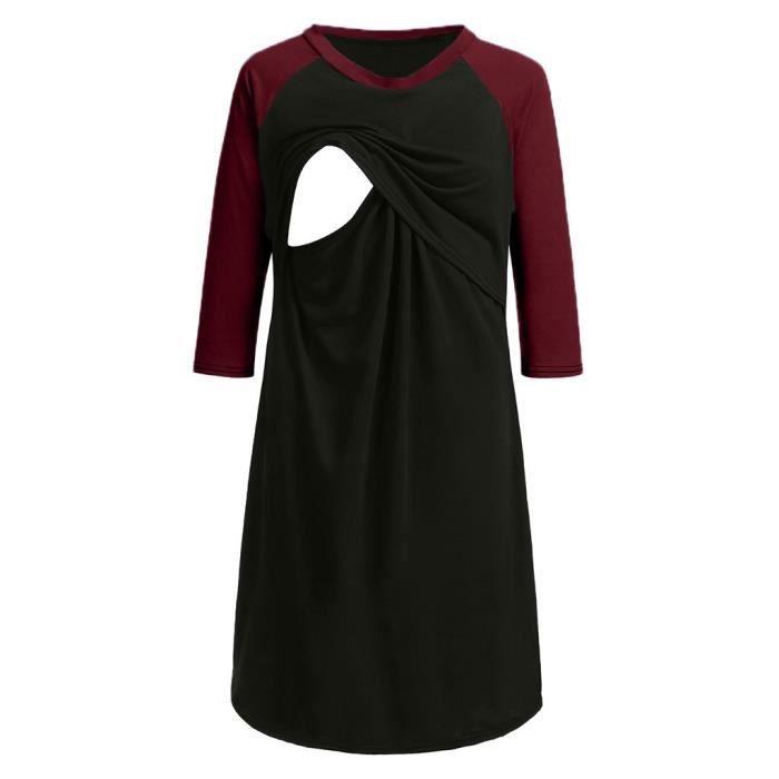 Femmes Allaitement Pyjama De Rouge Robe Nuit Des La Chemise D'allaitement Maternité aTX6T8