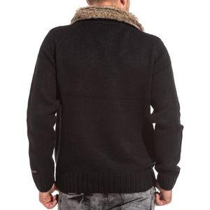 eda5cf8635a72 ... PULL Pullover tricot homme noir col châle fourré ...