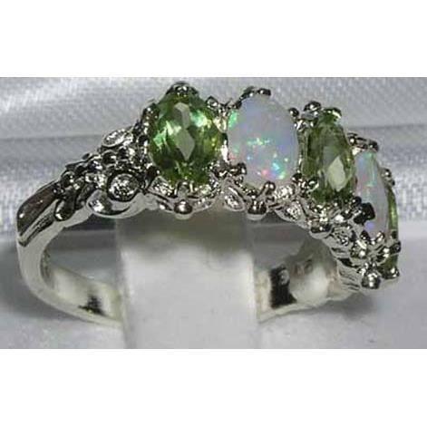 Bague pour Femme en Or blanc 9 carats 375-1000 sertie de Peridot Opale- Tailles 50 à 64