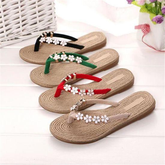new products c8d68 5db0b Tongs femme Haut qualité chaussure femme plein air Confortable chaussure  femme plein air pantoufles d été sandales plates femme Vert Vert - Achat    Vente ...