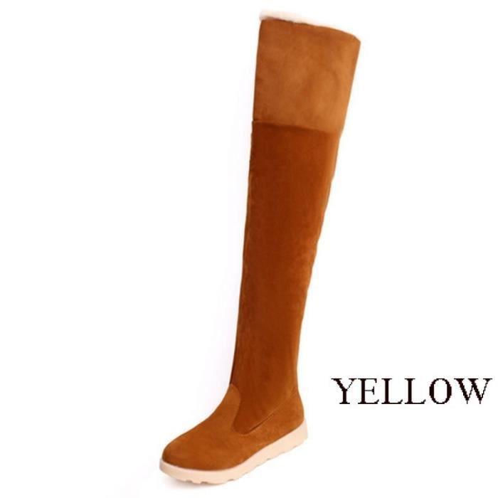 Bottes mode femme Soins de la peau d'hiver Plat Jambes Bottes Chaussures sexy,jaune,11