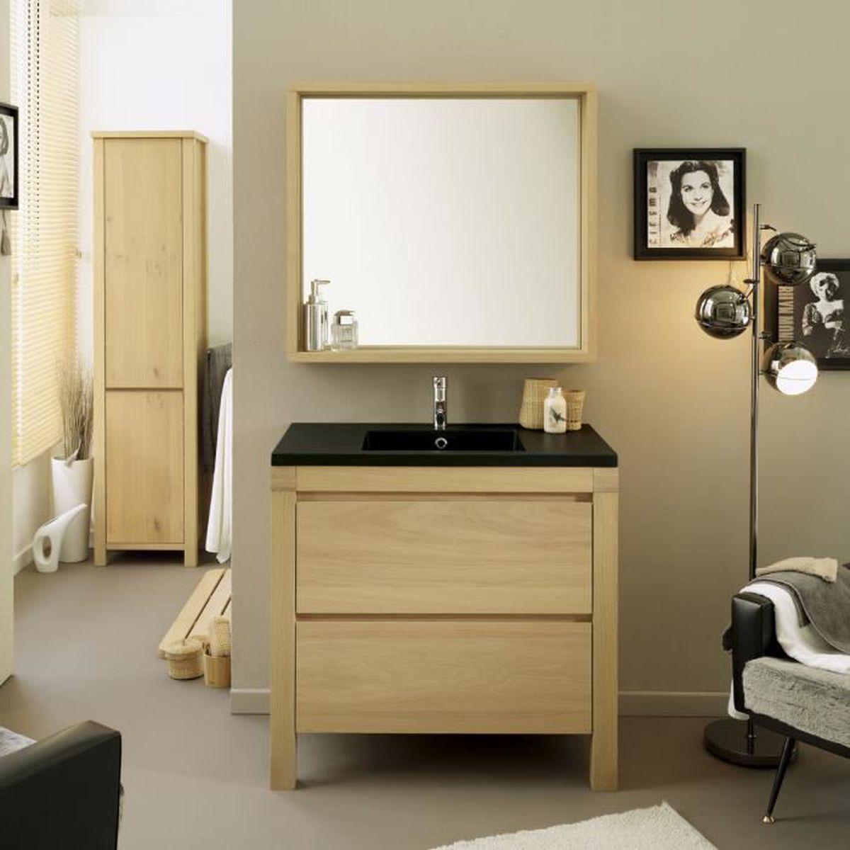 Ensemble salle de bain valery meuble vasque miroir 90 cm for Ensemble meuble salle de bain 80 cm