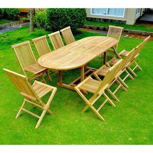 Salon de jardin en teck table ovale 10 fauteuils - Achat / Vente ...