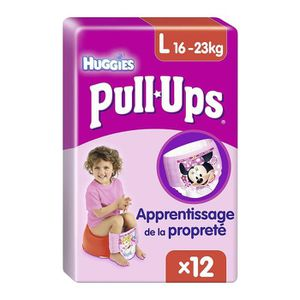 COUCHE Huggies Pull-Ups Fille Taille 6/Large (16 -23 kg),
