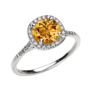 BAGUE - ANNEAU Bague Femme 10 Ct Or Blanc Diamant Et Véritable Ci