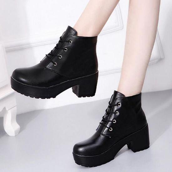 Napoulen®Mode Bottes punk talon rugueux hiver chaud populaire pour femmes Noir-YLL70906522BK Noir Noir - Achat / Vente botte