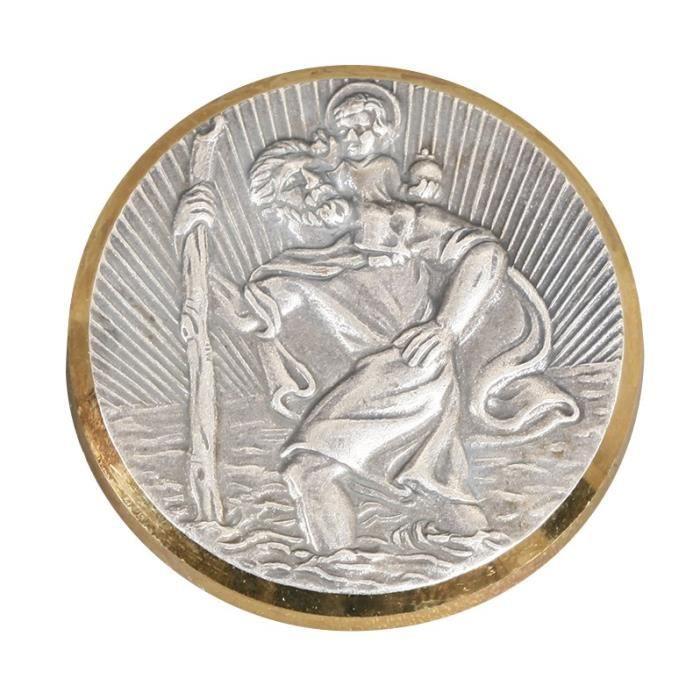 CARLINEA Médaille adhésive St Christophe - Doré et argenté