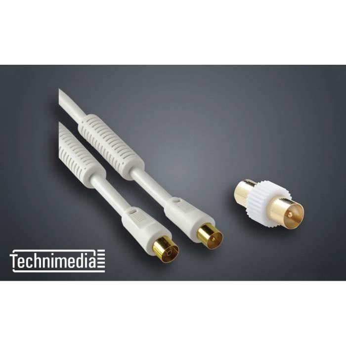 TECHNIMEDIA Fiche coaxialle coudée 9,52 mm - 19 VATC filtré - Mâle / femelle - Cordon de 2m + Adapte