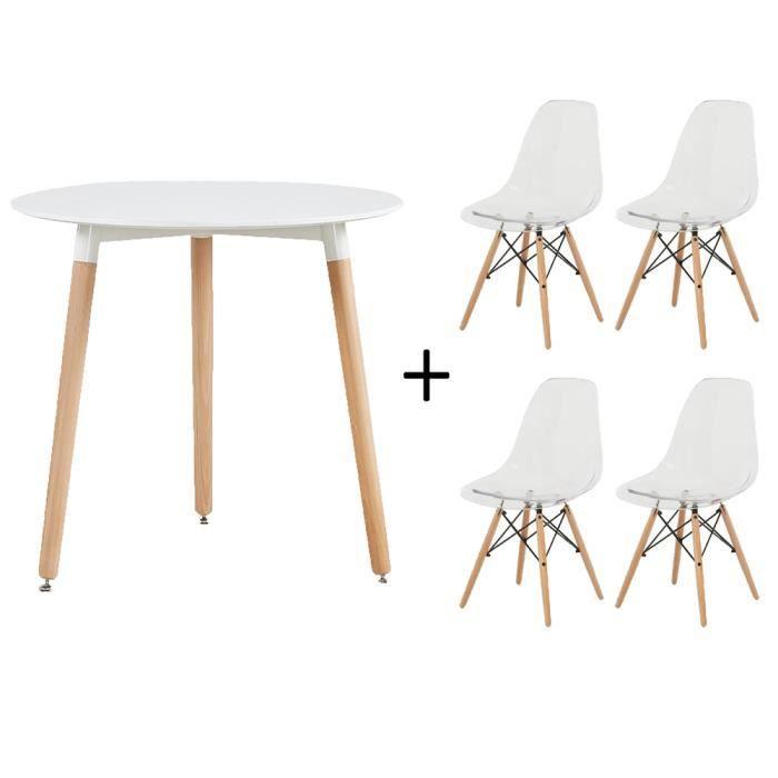 Dora De Salle A Manger Moderne Table Blanche Et 4 Chaises