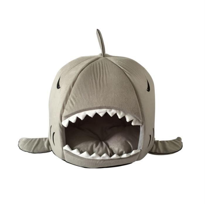 Maison Niche Pour Animaux Chien Chat En Peluche Style Requin- Taille S(gris)