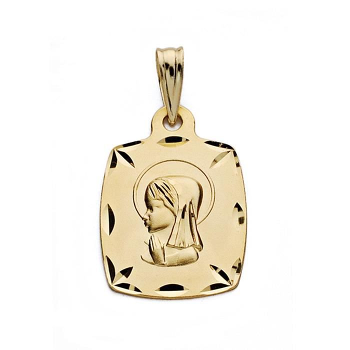 Médaille pendentif 19mm 9k or. [AA0690GR] rectangulaire