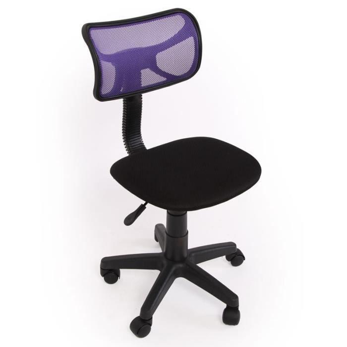 Chaise de bureau pour enfant en tissu violet BUR04024 Achat