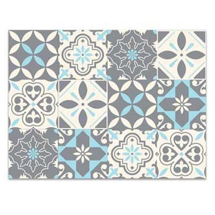 TAPIS Tapis de cuisine vinyle 'Boho' gris turquoise (car