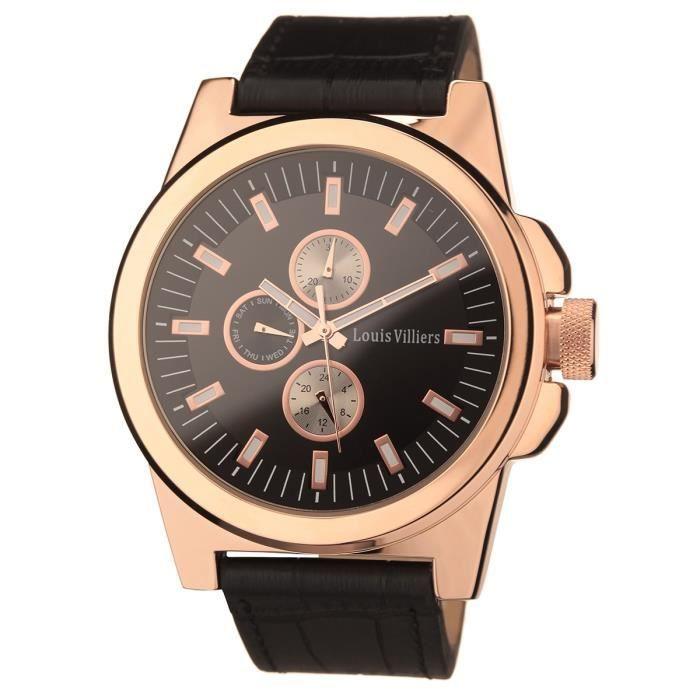 fbf538fa165b LOUIS VILLIERS Montre Quartz LVAG373315 Bracelet Cuir Homme Noir ...