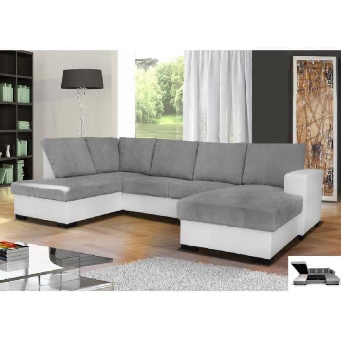 canap d 39 angle en u convertible oara 6 places tissu gris. Black Bedroom Furniture Sets. Home Design Ideas