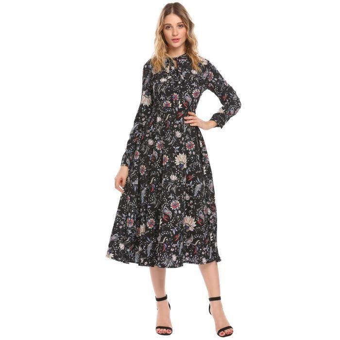 9a052d0867f62 Femmes robe longue petites fleurs vintage manches longues avec ceinture