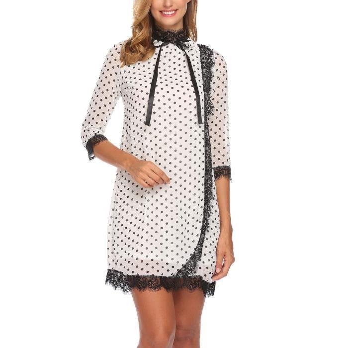Femmes robe décontracté col montant 3-4 manches dentelle patchwork droite lâche