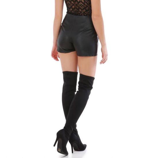 Short noir simili cuir taille haute-S Noir