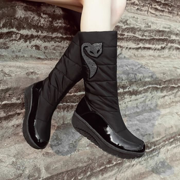 Noir Chaussures Bout Plates Bottes De Wedges Slip Couleur Rond on Femmes Solide Neige 7CTA7rqw