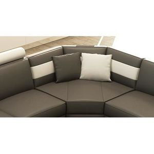 Canape d angle cuir gris achat vente canape d angle for Divan angle
