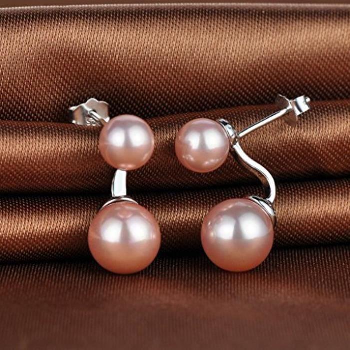 Boucle DOreille La Perle Doublé Rose En 925 Argent Fin Et Perle Clou DOreille Or Rose À La Mode Pour Femme Fille