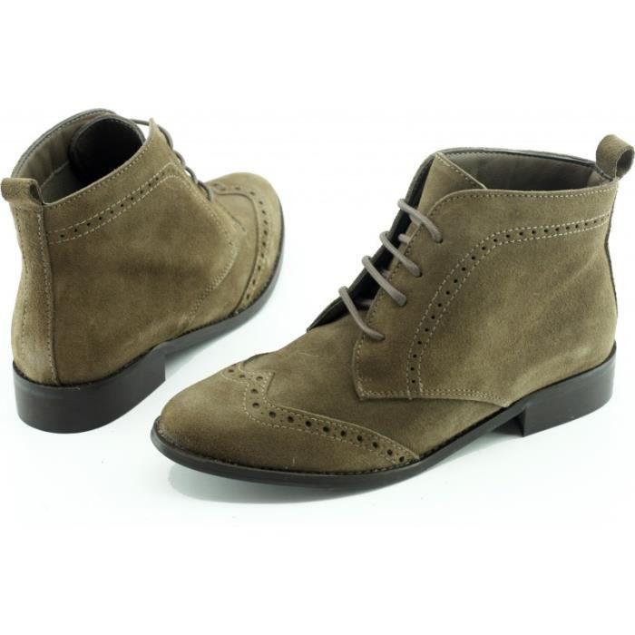 Versailles - Bottine à Lacet talon plat chaussures boots Femme marque Angelina cuir velours taupe beige