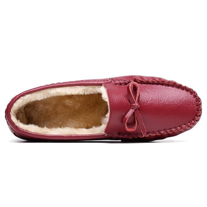 Leather Plush Moccasin Loafer Driving Shoes Slip On Flexible Casual Slippers Flat Shoes QPZCV Taille-39 1-2 xkQnnjGgw