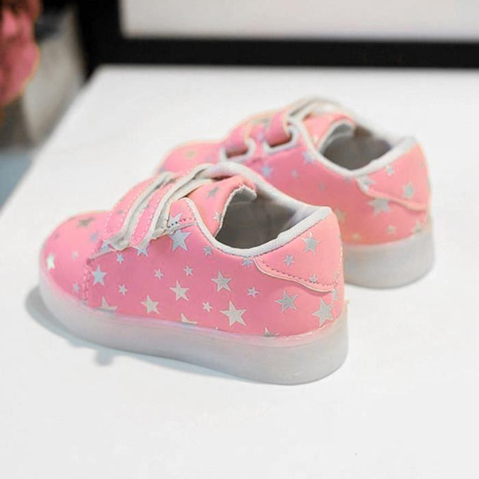 légers Baskets BOTTE lumineux bas RoseHM enfant chaussures bébé de colorées mode occasionnels en LED âge fwwOg