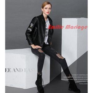 BLOUSON Veste en Simili Cuir Femme Casual Blouson Moto Fem
