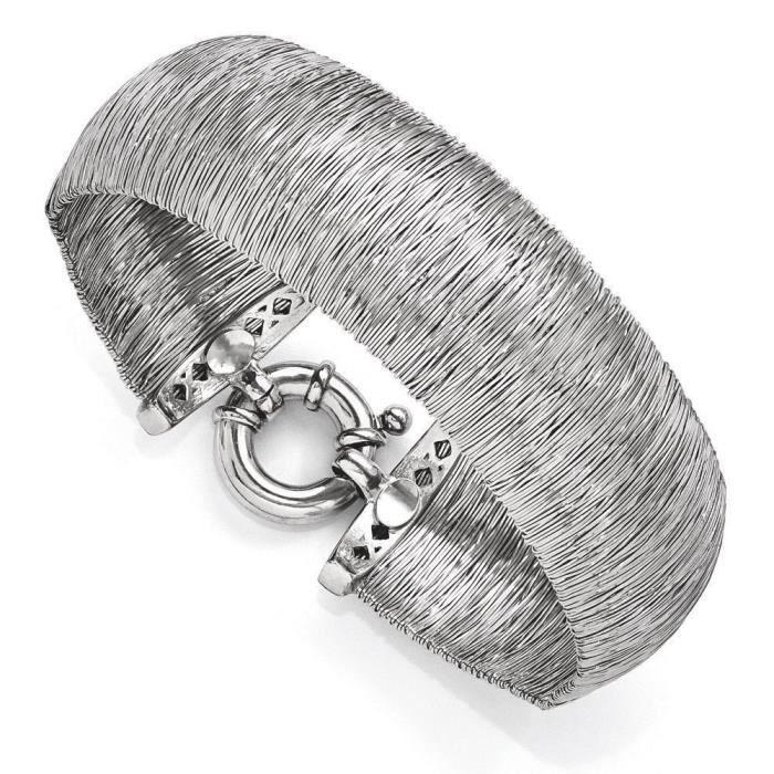 20,6 mm Argent 925/1000 poli et texturé 7,5 pouces Bracelet