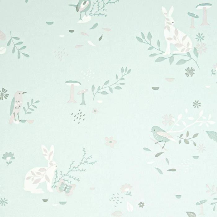 Papier Peint Enfant Traditionnel Jardin Secret Vert D Eau 0 52x10m