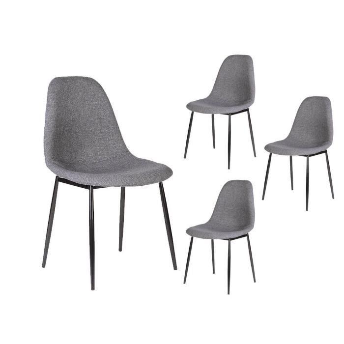 Lot de 4 chaises pieds metal tissu achat vente lot de for 6 chaises scandinaves