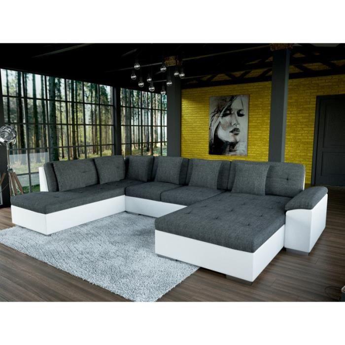 Canapé d angle panoramique SMILE grande taille tissu et simili cuir