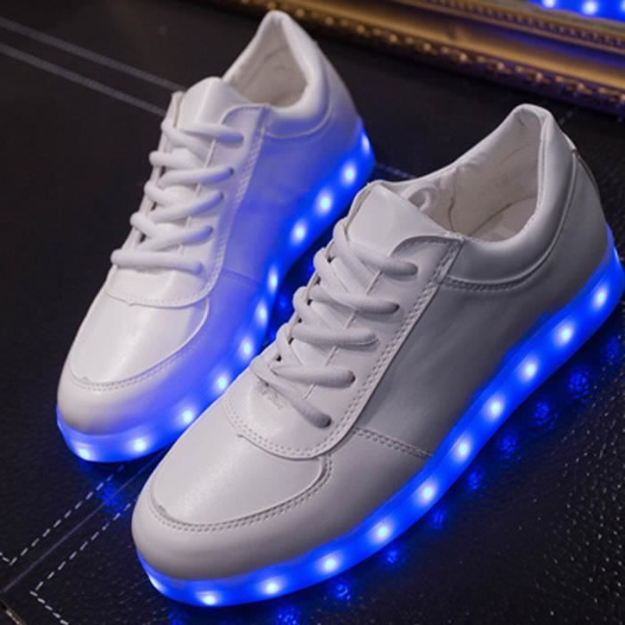 Calseosvic-Blanc 7 Couleur Unisexe Homme Femme USB Charge LED Lumière Lumineux Clignotants Chaussures de Sports Baskets c41JXn